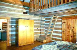 The Loft inside a Dogtrot Cabin at Granbury Log Cabins